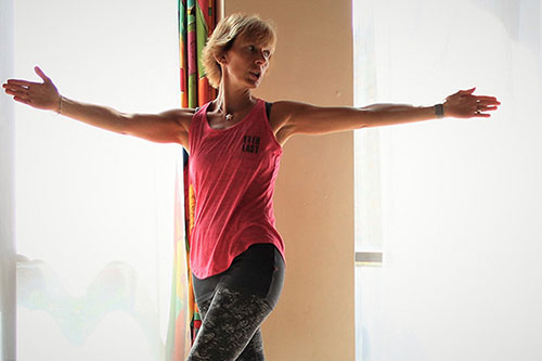 Vanessa Gretton leads a pilates class at her studio in Nottingham